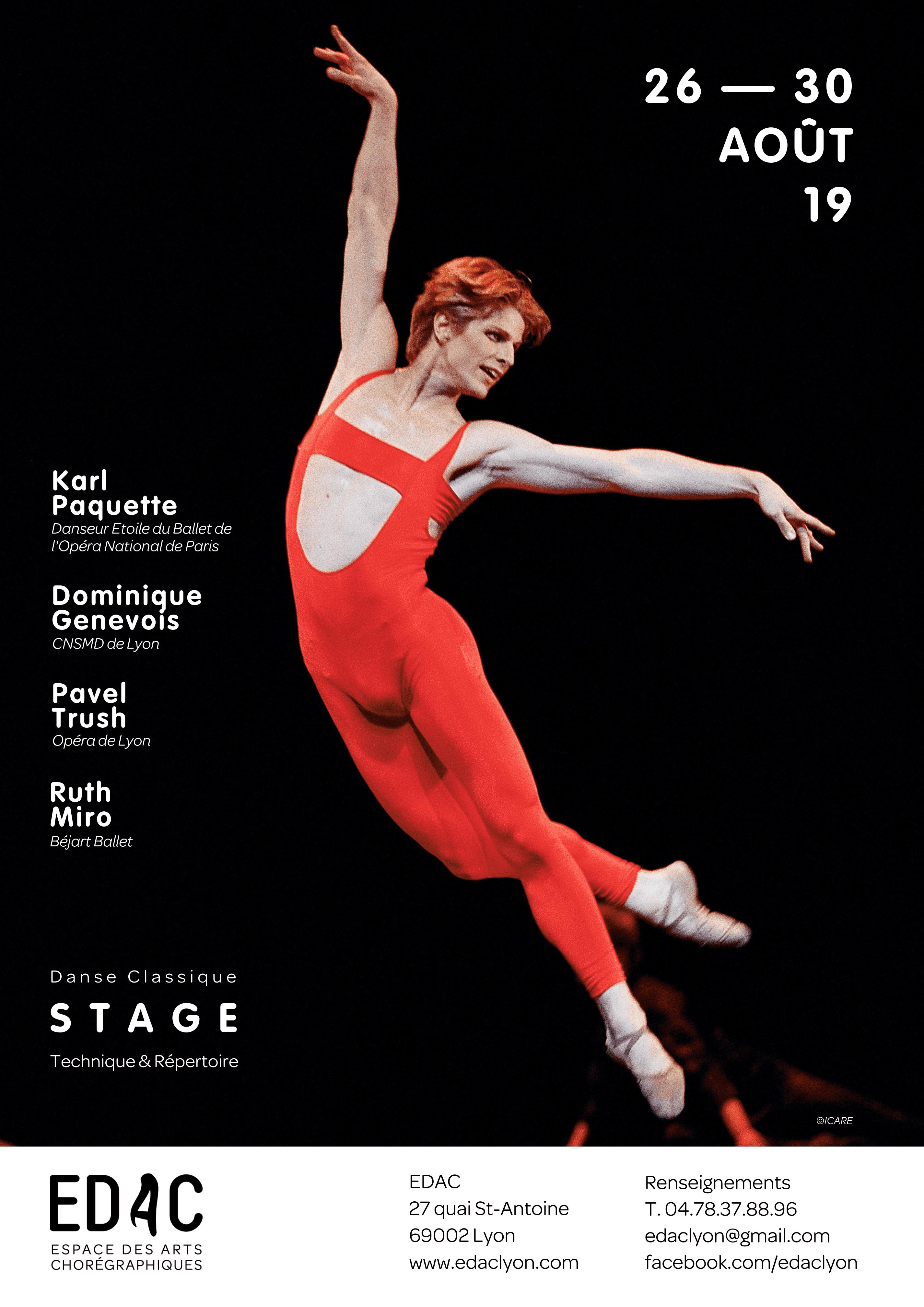 Karle Paquette, Maurice Béjart, stage de danse classique à Lyon, Pavel Trush, Ruth Miro Dominique Genevois